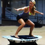 The RipSurfer X is a stationary surfboard trainer