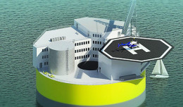 An illustration showing a possible configuration of a floating offshore nuclear plant. Image: Jake Jurewicz/MIT-NSE