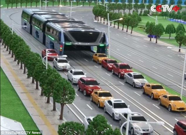 The idea for this vehicle is to have a set of fixed rails on the roadways to allow the TEB to pass over cars in a traffic jam
