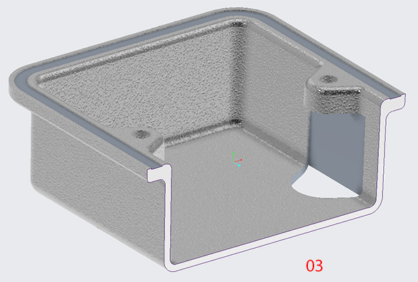 Creo die cast housing showing a shut off for obtaining a straight pull from