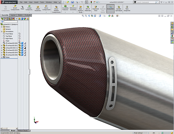 Solidworks YZ450 Exhaust