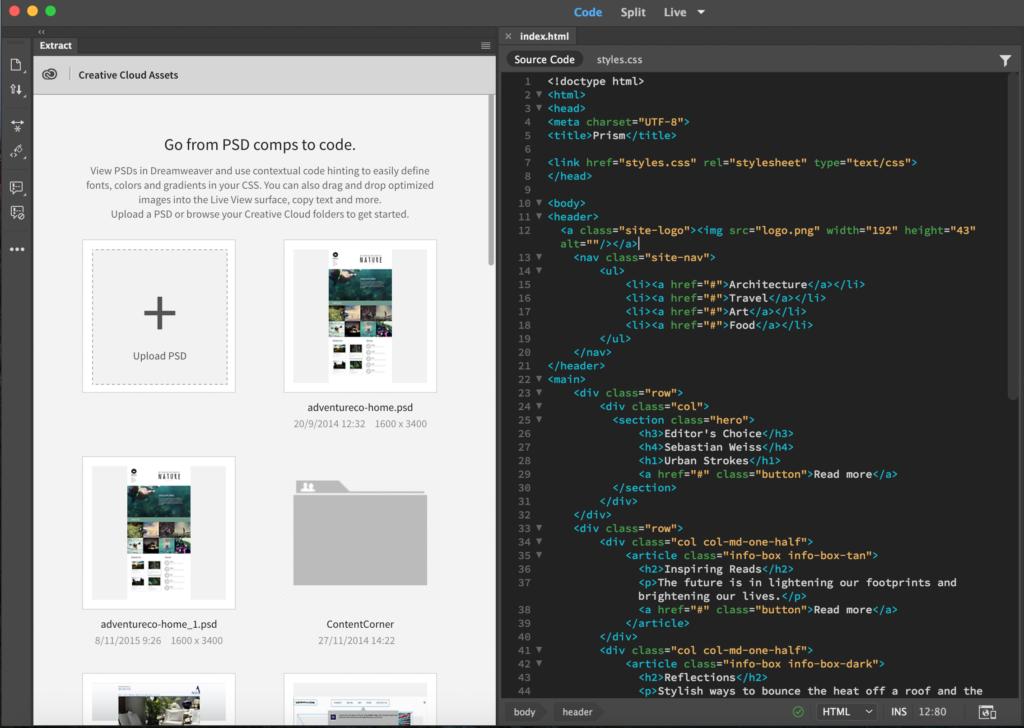 Screen shot in Adobe Dreamweaver
