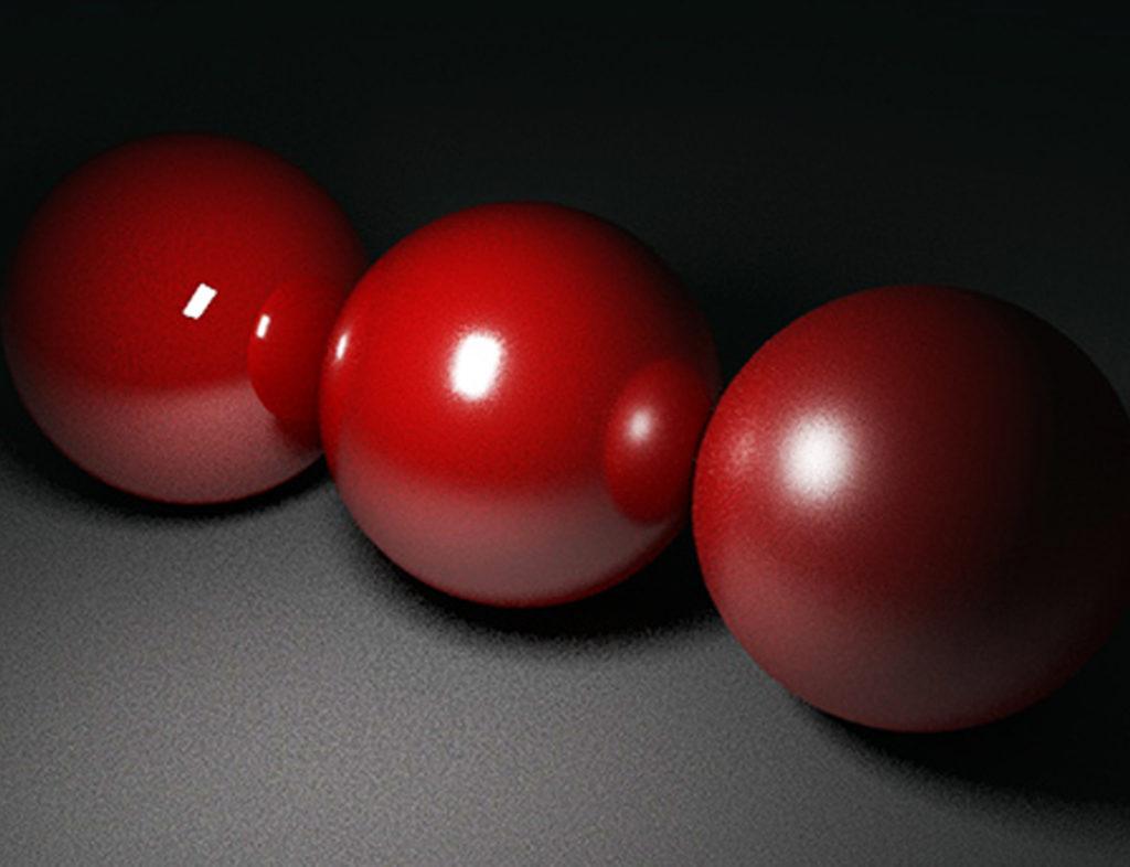 Red balls rendered in Maya