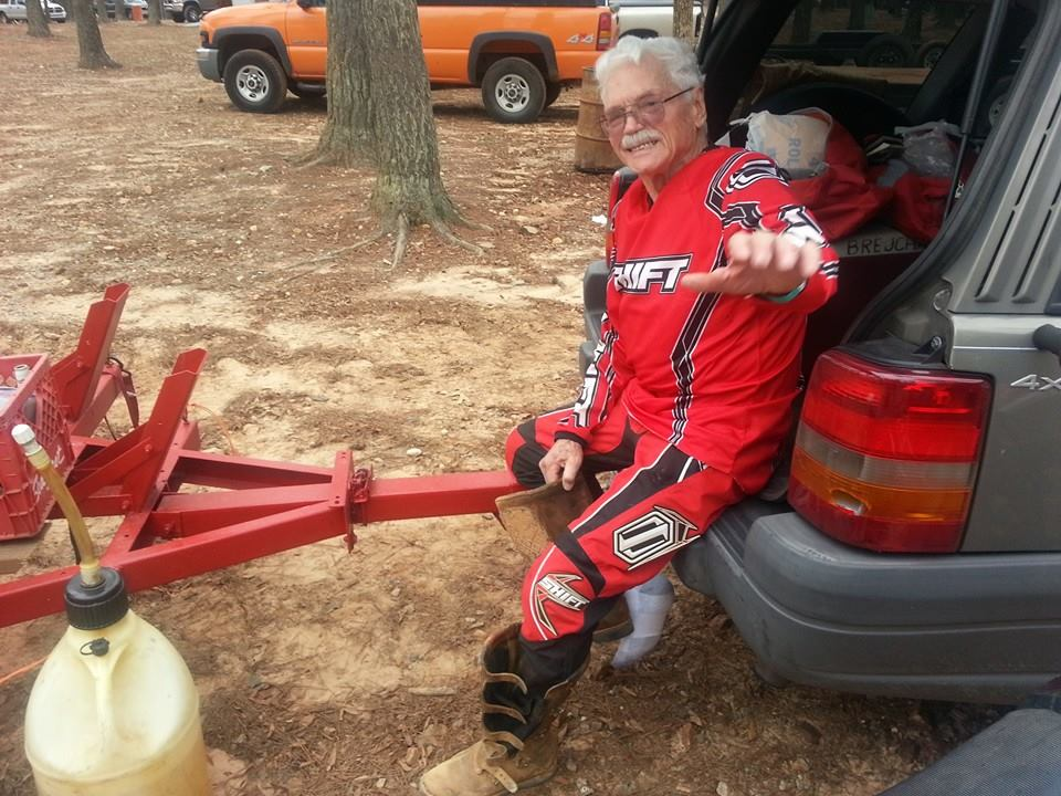 My dad Rollen after riding motocross all day at Durhamtown Plantation in Middle GA
